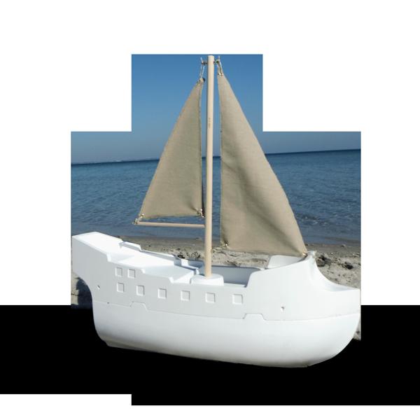 Urne: das Schiff mit hellen Segeln